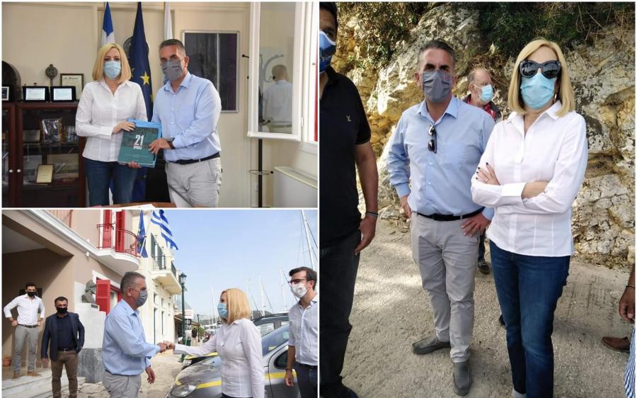 Στις πληγείσες περιοχές της Ιθάκης η Φώφη Γεννηματά - Συνάντηση με τον Δήμαρχο Δ. Στανίτσα (εικόνες)