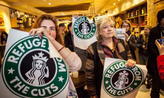 UK Uncut protesters shut down Starbucks shops